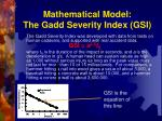 mathematical model the gadd severity index gsi