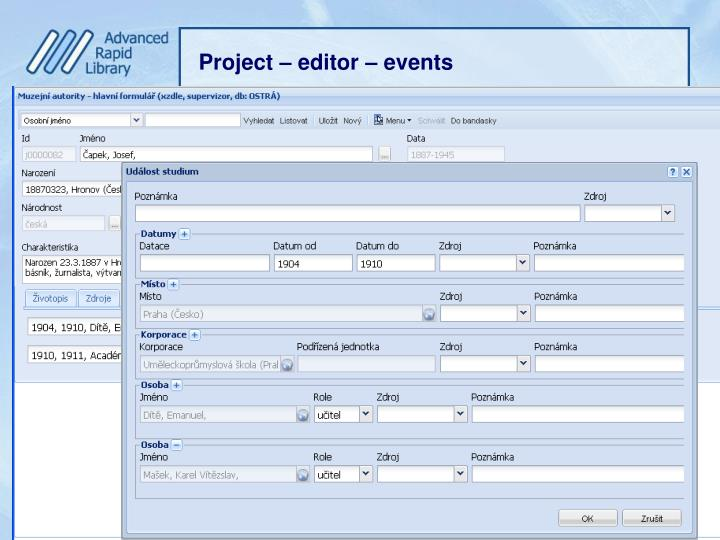 Project – editor – events