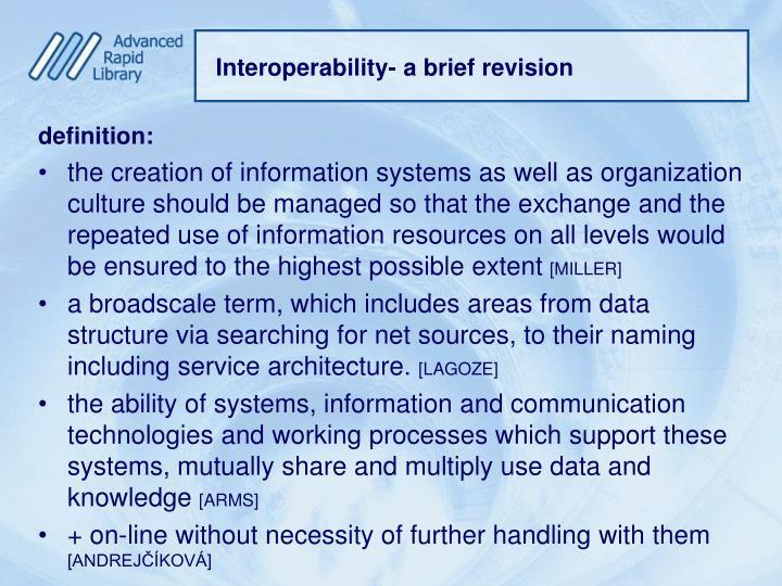 Interoperability- a brief revision