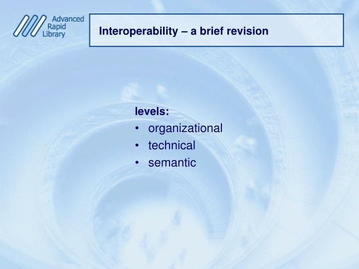 Interoperability – a brief revision