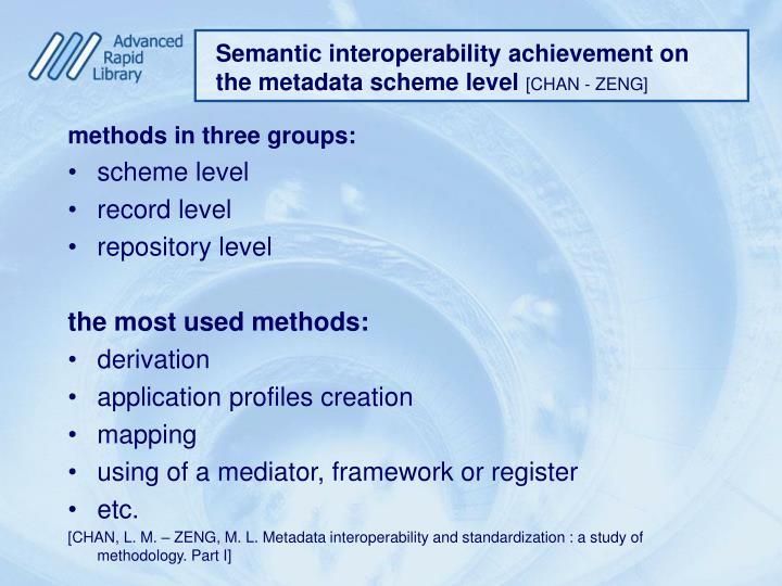 Semantic interoperability achievement on the metadata scheme level