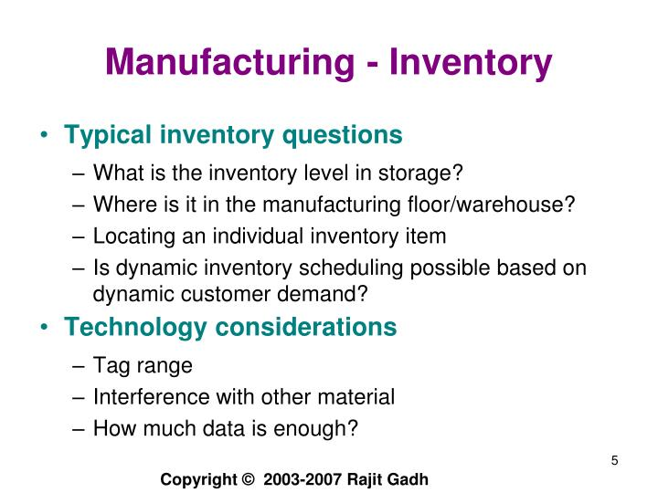 Manufacturing - Inventory