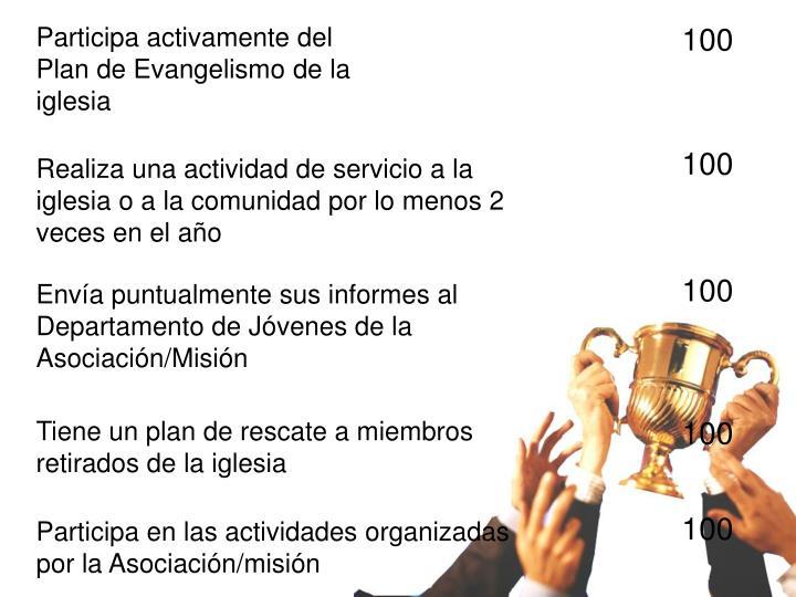 Participa activamente del Plan de Evangelismo de la iglesia