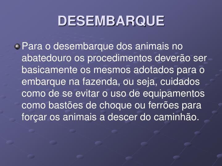 DESEMBARQUE