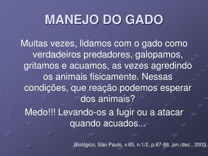 Manejo do gado