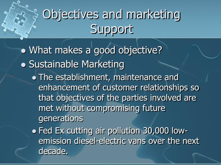 Objectives and marketing Support