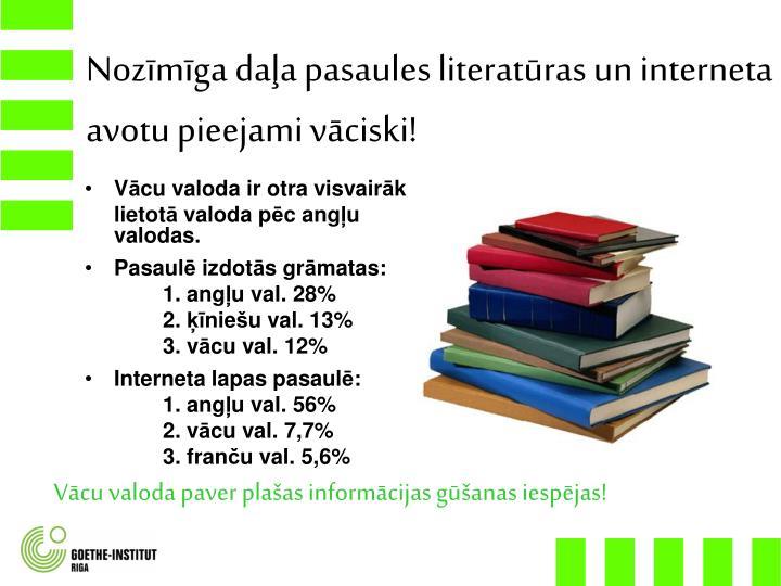Nozīmīga daļa pasaules literatūras un interneta avotu pieejami vāciski!