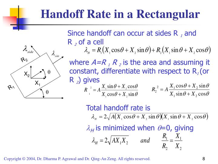 Handoff Rate in a Rectangular