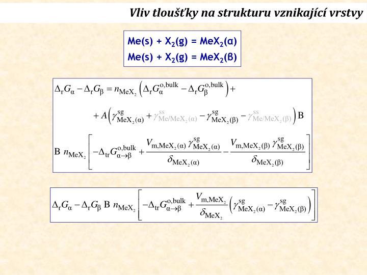 Vliv tloušťky na strukturu vznikající vrstvy