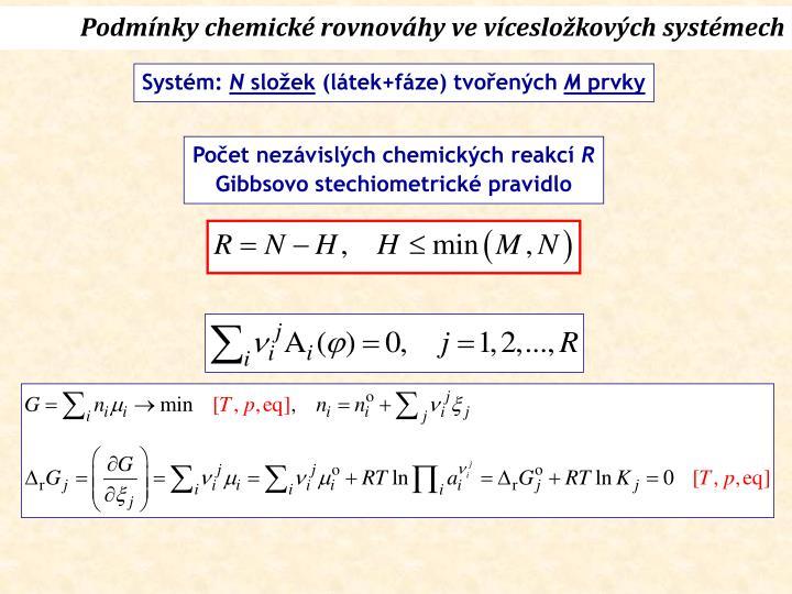 Podmínky chemické rovnováhy ve vícesložkových systémech