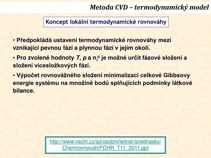 Metoda CVD – termodynamický model