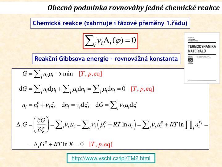 Obecná podmínka rovnováhy jedné chemické reakce