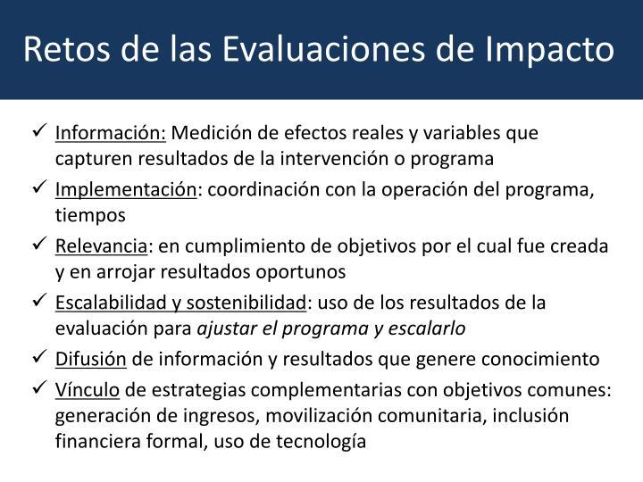 Retos de las Evaluaciones de Impacto