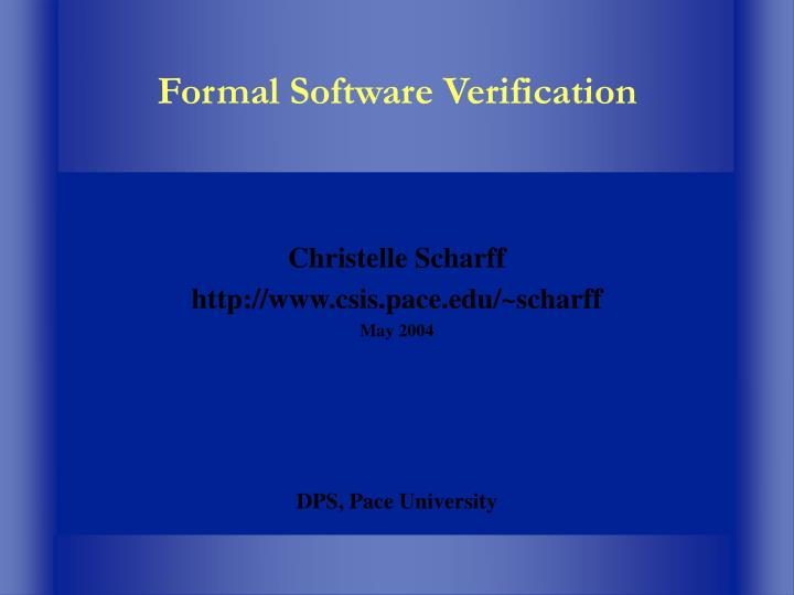 Formal software verification