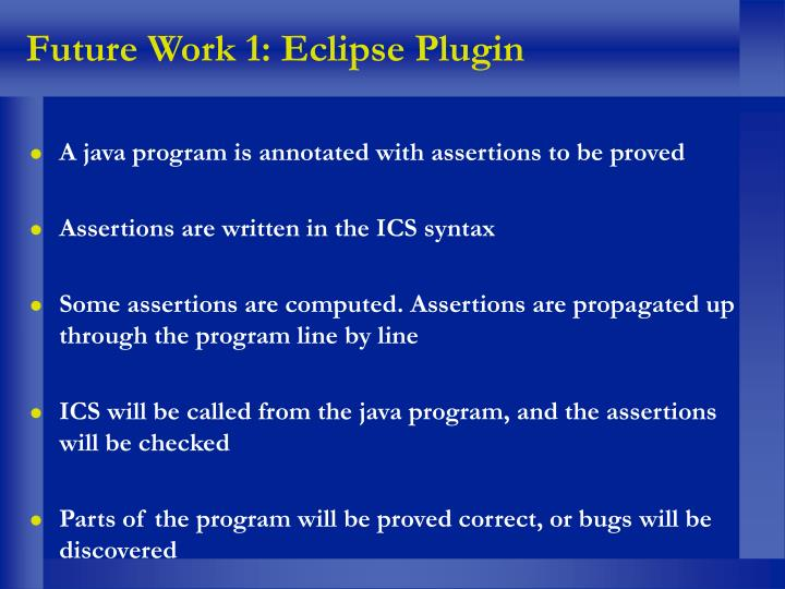 Future Work 1: Eclipse Plugin