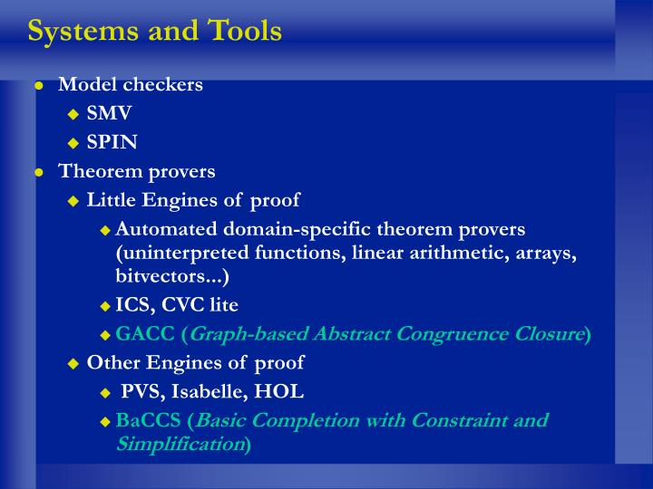 Systems and Tools
