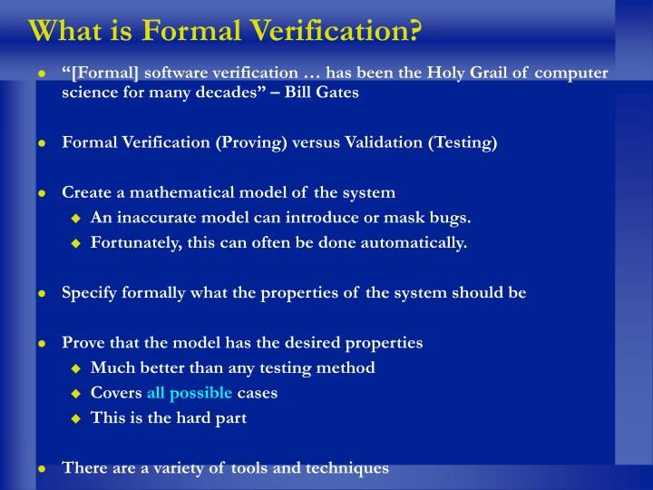What is Formal Verification?