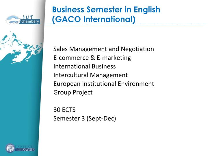 Business Semester in English