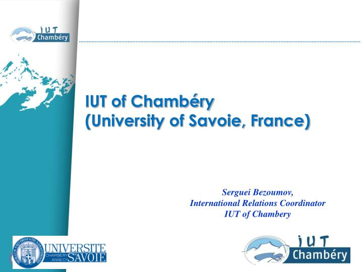 Iut of chamb ry university of savoie france