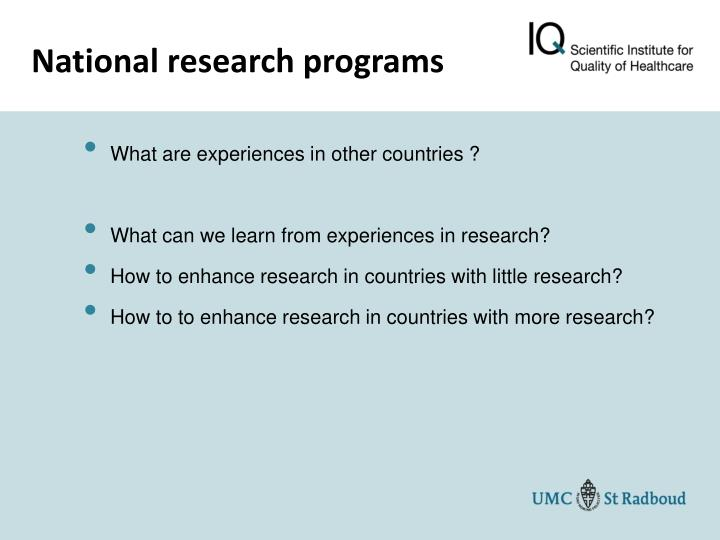 National research programs