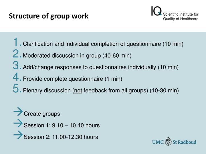 Structure of group work