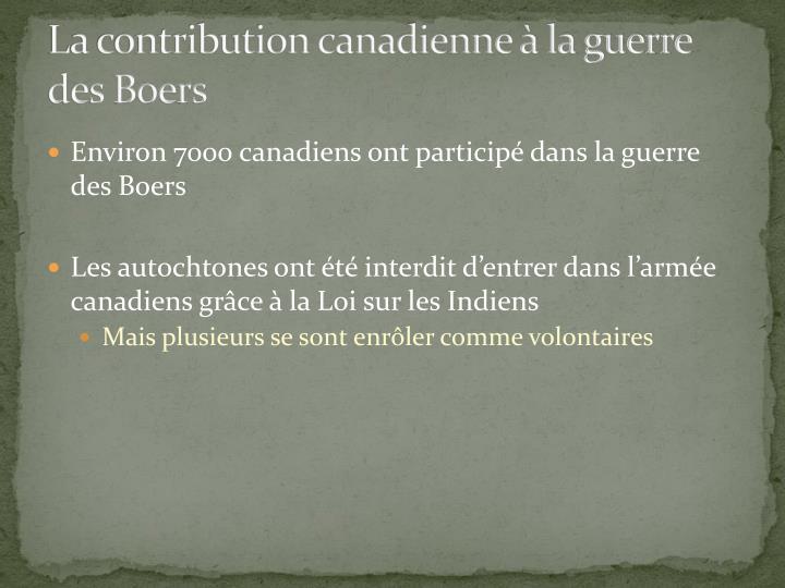La contribution canadienne à la guerre des Boers
