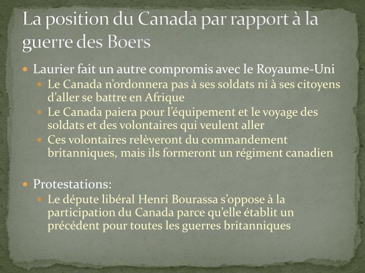 La position du Canada par rapport à la guerre des Boers