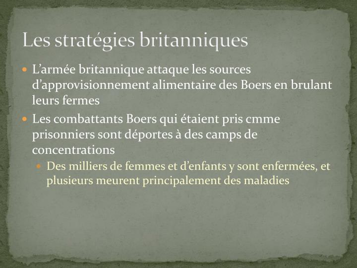 Les stratégies britanniques