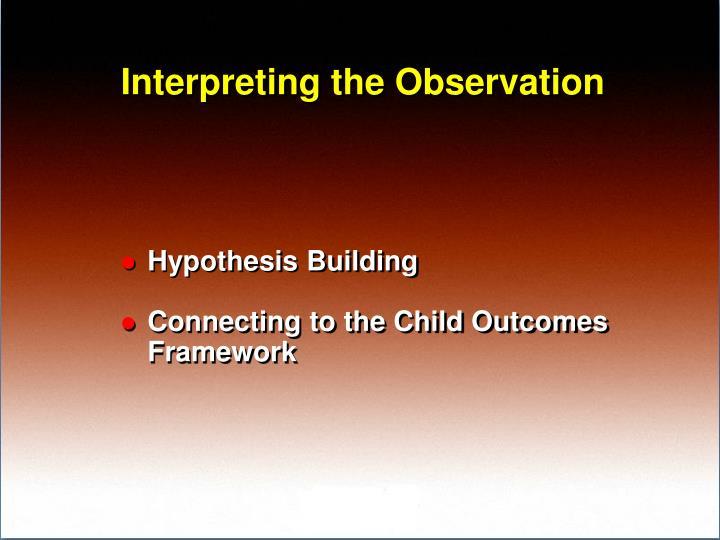 Interpreting the Observation