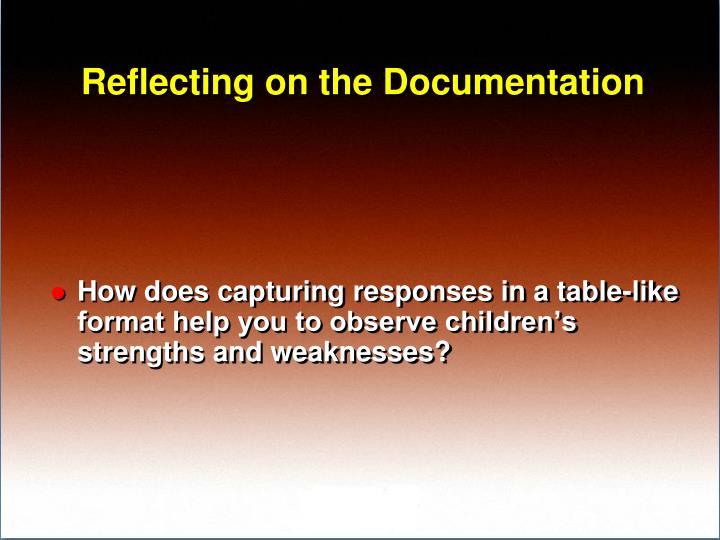 Reflecting on the Documentation