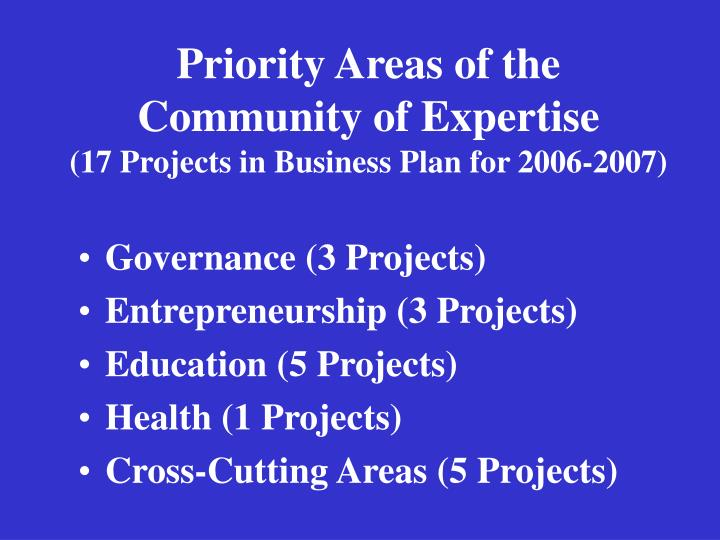 Priority Areas of the Community of Expertise