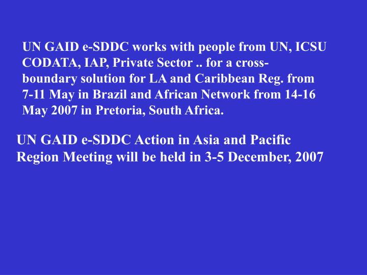 UN GAID e-SDDC works with people from UN, ICSU