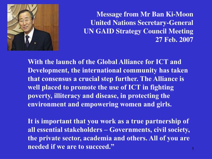 Message from Mr Ban Ki-Moon