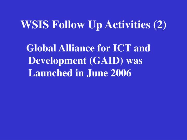 Wsis follow up activities 2