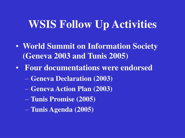 Wsis follow up activities