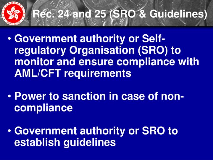 Rec. 24 and 25 (SRO & Guidelines)