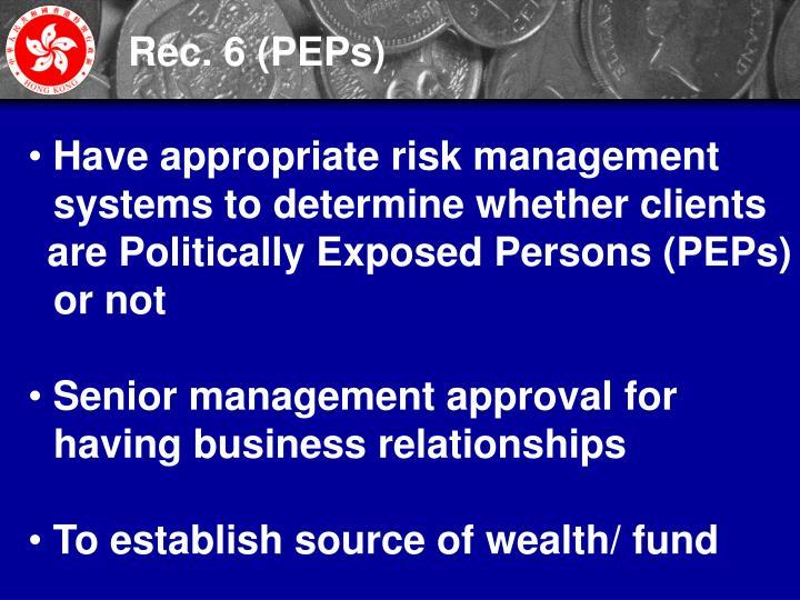 Rec. 6 (PEPs)