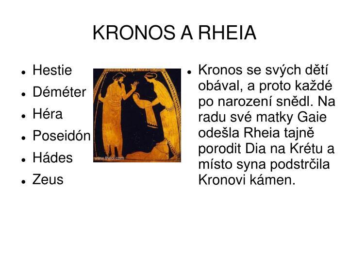 Kronos se svých dětí obával, a proto každé po narození snědl. Na radu své matky Gaie odešla Rheia tajně porodit Dia na Krétu a místo syna podstrčila Kronovi kámen.