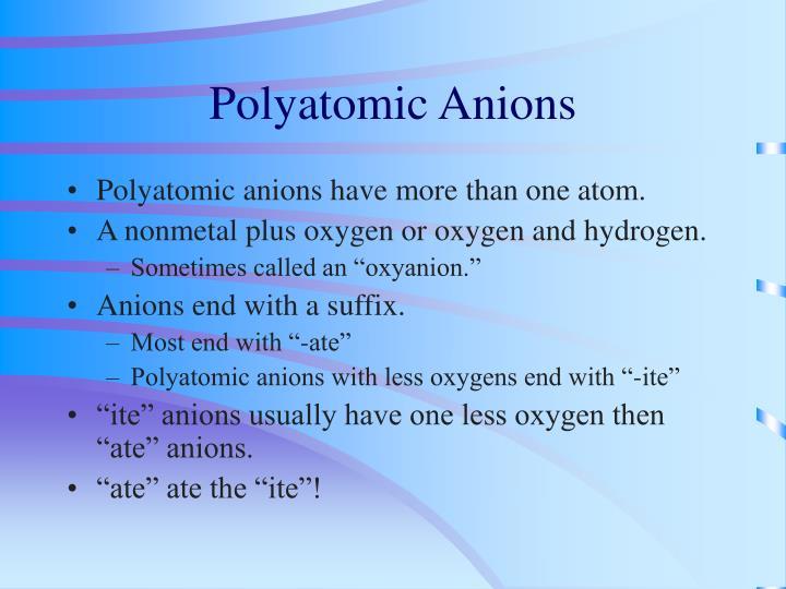 Polyatomic Anions