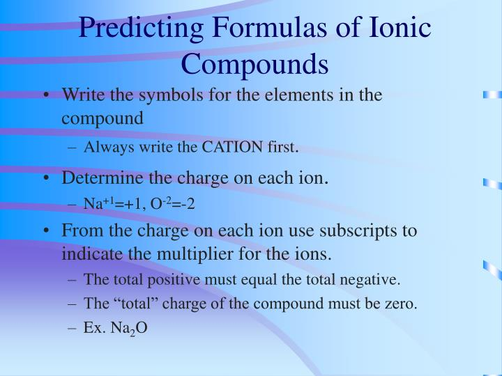 Predicting Formulas of Ionic Compounds