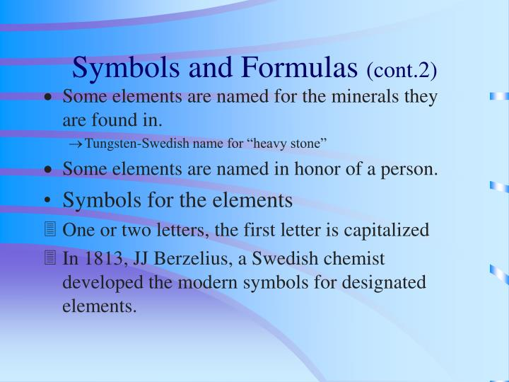 Symbols and Formulas