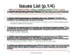 issues list p 1 4 red not treated in phase 1 green treated or non issue yellow notes