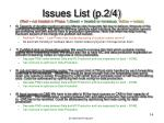 issues list p 2 4 red not treated in phase 1 green treated or non issue yellow notes