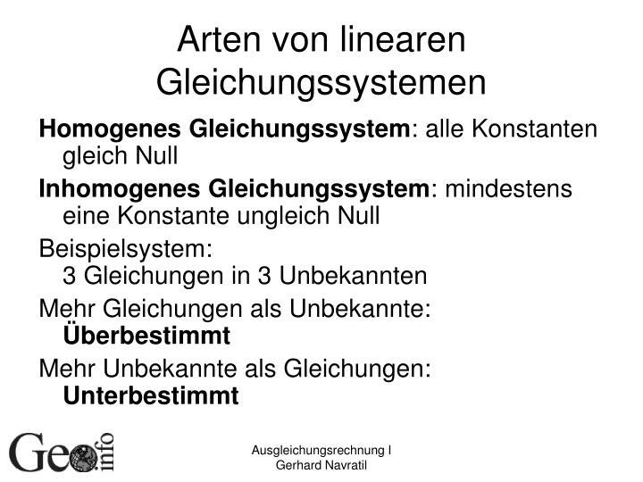 Arten von linearen Gleichungssystemen