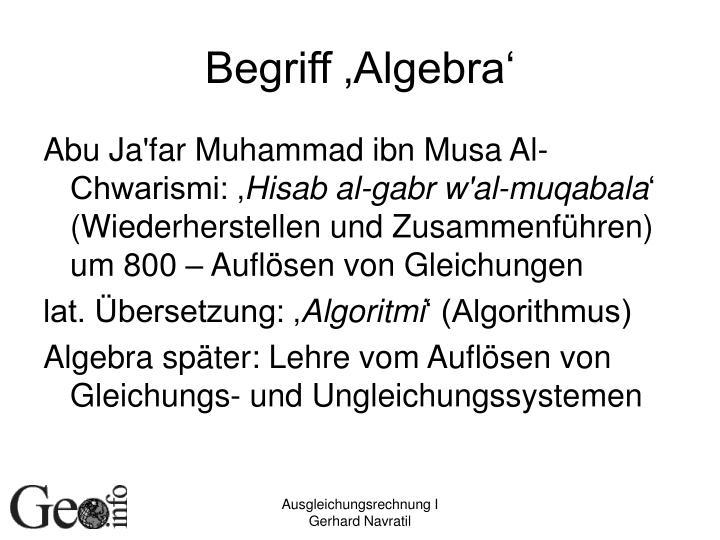 Begriff 'Algebra'
