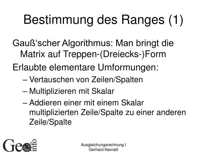 Bestimmung des Ranges (1)