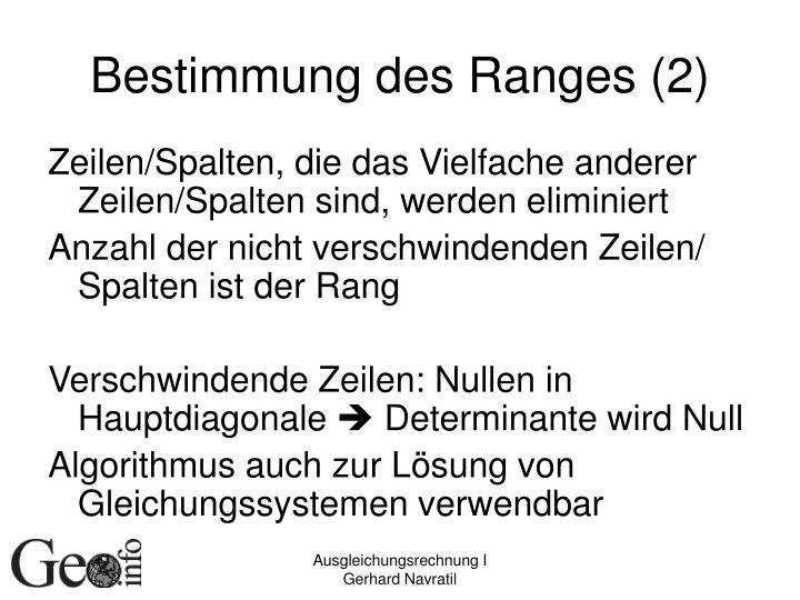 Bestimmung des Ranges (2)