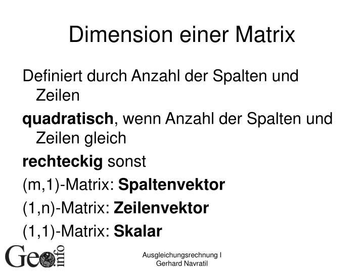 Dimension einer Matrix