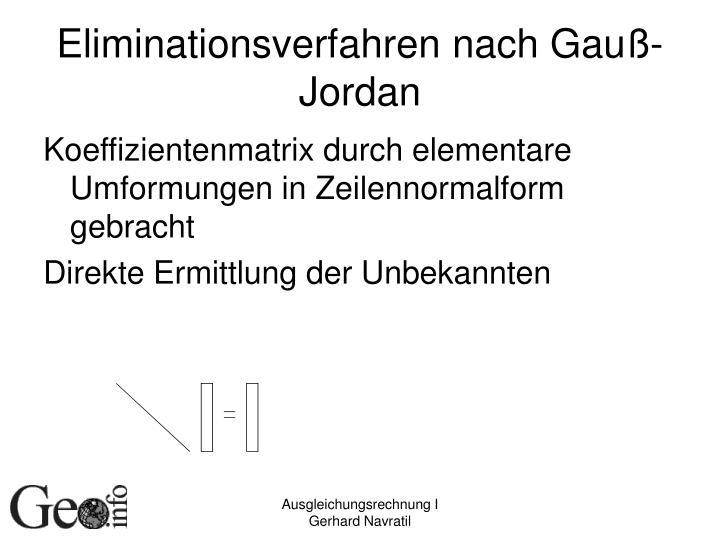 Eliminationsverfahren nach Gauß-Jordan