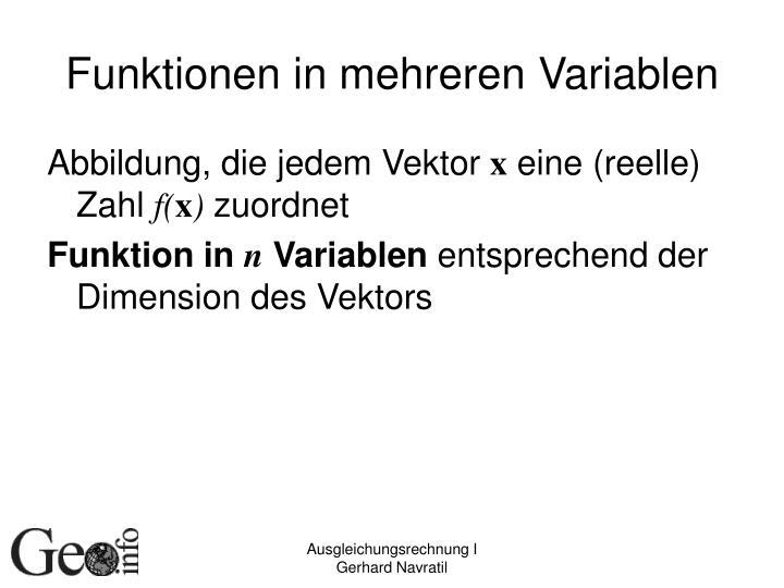 Funktionen in mehreren Variablen